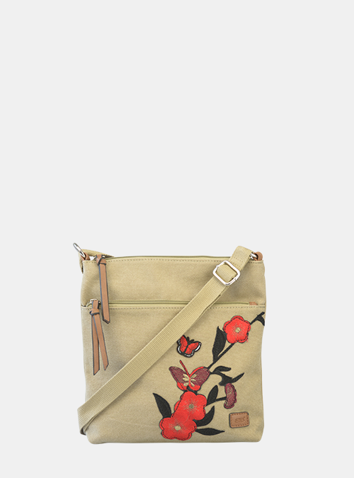 b42beaf926830 Bernardo Bossi - Umhängetasche mit roten gestickten Blumen