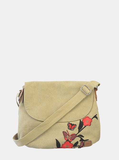 b6faf86fa6d04 Bernardo Bossi - Satchel-Bag mit roten gestickten Blumen