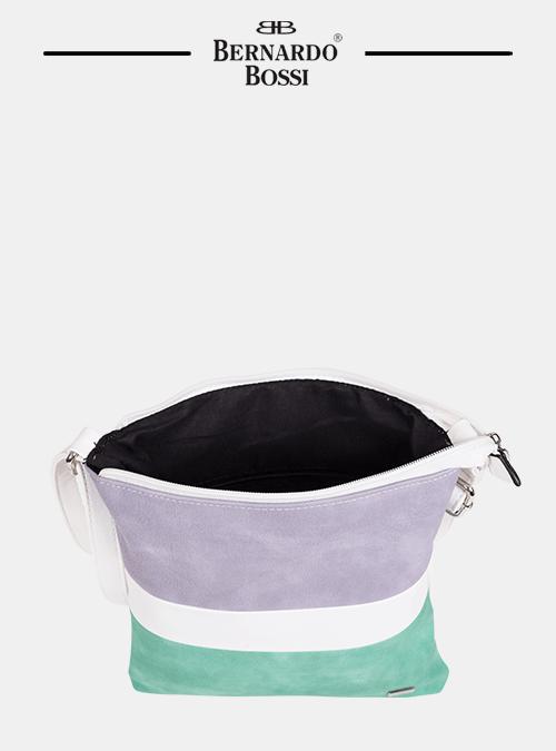 tasche; farbmix; materialkombination; modisch; bernardo bossi metall logo, reißverschluss, innenfächer, langer schulterriemen